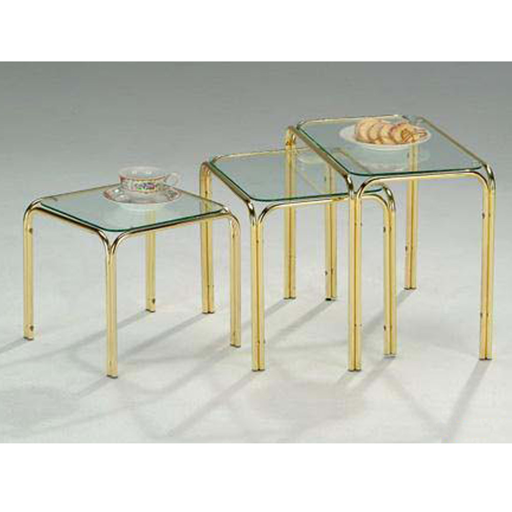glass nest of tables, nesting end tables