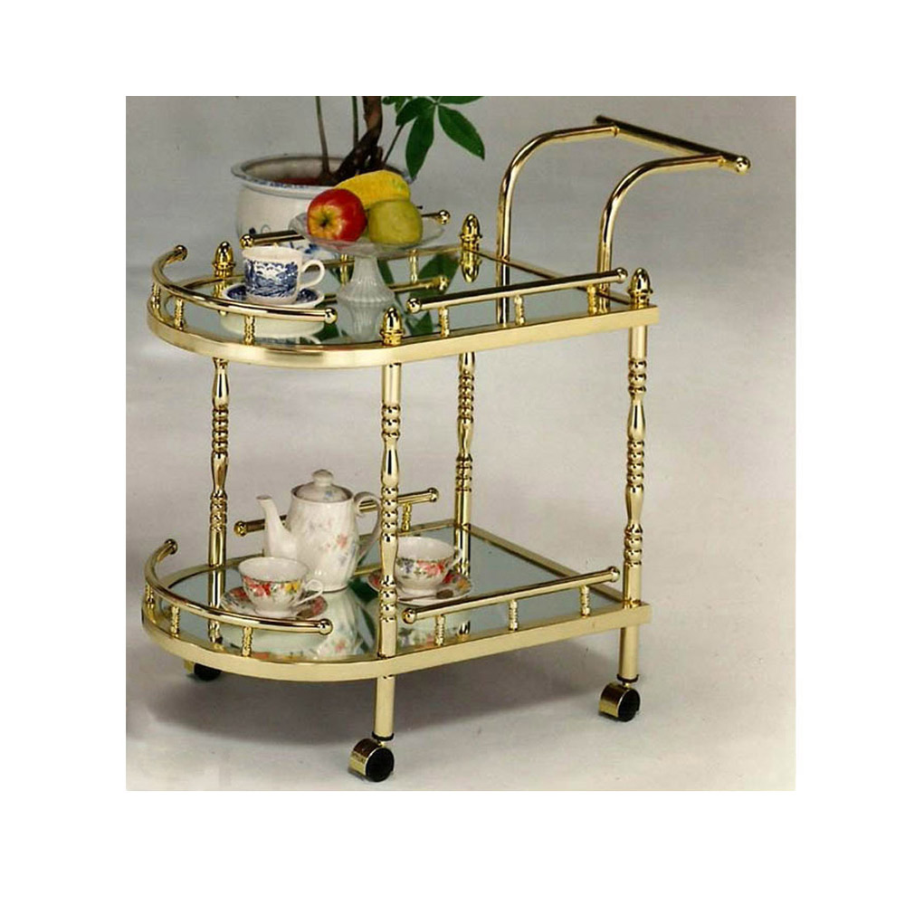 Gold Bar Cart, Tea Service Trolley, Living Room Furniture Supplier